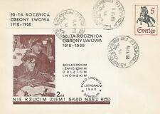 Poland Sverige postmark 50 ann. defense of Lviv