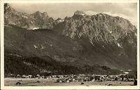 Krün Oberbayern Ansichtskarte 1954 gelaufen Panorama mit Blick auf Karwendel