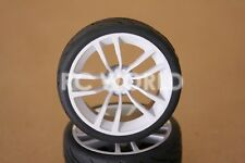 RC 1/10 CAR TIRES WHEELS RIMS SEMI- SLICKS KYOSHO TAMIYA HPI  Matte WHITE