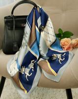 "100% Mulberry Silk 25"" Scarf Women neckerchief Shawl Wrap blue brown QS152-2"