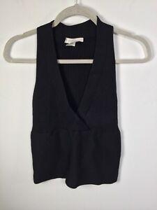 White house black market womens black silk/viscose knit ribbed top size M