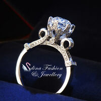 18K White Gold Plated Round Cut Diamond Special Design Vintage Engagement Ring