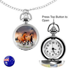 One Brown Running Horse FOB/Pocket/Necklace Quartz Watch with 80CM Long Chain