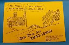 "CB RADIO QSL Trading Card ""MR & MRS WILSON - DOUG RUTLEDGE - WESTON ONTARIO"