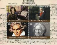 Madagascar 2018 CTO Beethoven 4v M/S Music Composers Stamps