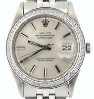 Rolex Datejust Mens Stainless Steel Jubilee Watch w/ Silver Dial & Diamond Bezel