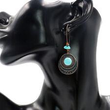 Women Vintage Round Turquoise Long Dangle Hook Eardrop Earrings Jewelry Novelty