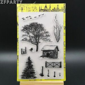 1pc Trees Transparent Silicone Stamp Clear Card Making Seal Stamps DIY Scrapbook