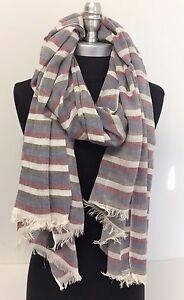 Men Fashion Cotton Long Scarf Wrap Distressed Striped Brown/Wine/White/Blue Soft