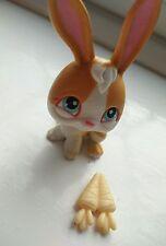 #75 2004 Coniglio Carota Bianco Arancione Littlest Pet Shop LPS difficile da trovare occhi azzurri