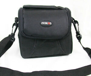 ZEIKOS Padded Compact Camera Bag Black w/strap Side+ Back Mesh Pockets
