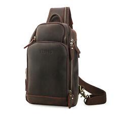 Retro Men's Leather Sling Chest Bag Crossbady Bag w/USB Interface+Headphone Hole