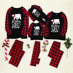 Family Matching Adult Kids Christmas Pyjamas Nightwear Sleepwear Xmas Set Gift