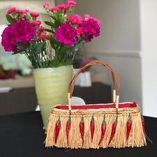 CARPISA beige straw handbag embellished with fringe & chili peppers