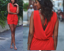 ZARA RED OPEN BACK PLAYSUIT TOP SIZE L