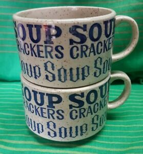 Vintage Retro SOUP CRACKERS Mugs Pair Stacking Japan Blue gloss finish   70s 80s