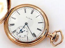 * GREAT CASE / 1908 ELGIN 12S 17J MENS POCKET WATCH.