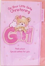 "Glittered, Cute Bear "" ON YOUR LITTLE GIRL'S "" Christening Card"