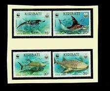 KIRIBATI 1991 WWF MARINE LIFE: MANTA RAY & WHALE SHARK SET OF 4v MNH STAMPS