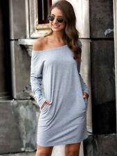 SHEIN Brand Grey Long Sleeve Side Pocket T-Shirt Dress Size L NEW #SR102