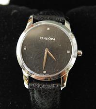 Genuine Pandora Watch Fleur Silver/Black with Black Strap - 811036BK