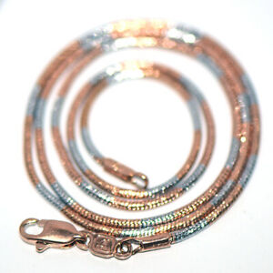 Rose Gold Filled & Silver 2-Tone Womens Snake Chain Necklace 18 Inches 1.5mm