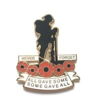 Remembrance Day Red flower Soldier Lapel badge lest we forget
