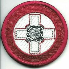 """2"""" Red White Air Wing Malta Roundel Patch VELCRO® BRAND Hook Side Only"""