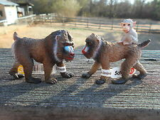 MANDRILL FAMILY by Schleich;NEW 2014/toy/monkey/monkeys/RETIRED
