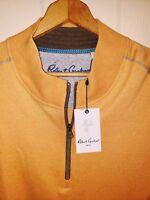 Robert Graham Quarter Zip Pullover Sweater Mens 2XL NWT $148.00 Gold Orange