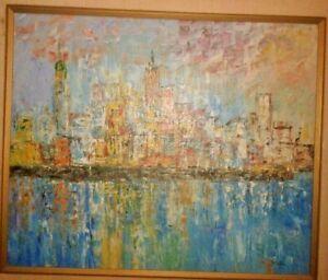 LANDSCAPE CITY NIGHT OIL PAINTING ORIGINAL ARTIST SIGNED