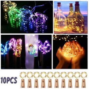 10pcs Wine Bottle Fairy String Lights Battery Cork Shaped Xmas Wedding Party