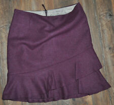 Kew Jigsaw Ladies Purple Ruffle Hem Skirt UK 10 70% Wool