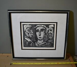 """LOVELY FRENCH ETCHING BY GEORGES ROUAULT LISTED ARTIST TITLED """"FACES"""""""