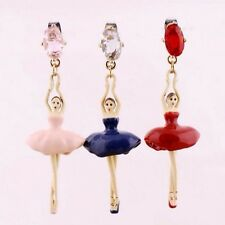 BLOGGERS FAV BALLERINA PINK FIGURINE CRYSTAL DROP EARRINGS – NEW