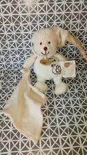 Doudou ours mon doudou coton bio blanc crème bonnet mouchoir 15 cm Baby Nat'