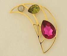 Swarovski Crystal Clear Green & Pink Moon Brooch Pin