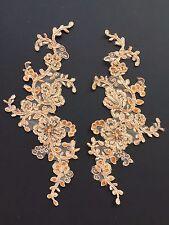 Mirror pair apricot corded beaded sequin lace applique tutu dance evening wear