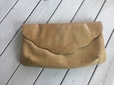 Vintage Purse Bag Clutch Tan Gold Snakeskin Red Interior Removable Strap Reptile