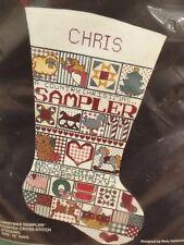"Vtg Bucilla Xmas Sampler Counted Cross Stitch 18"" Stocking Kit Unused Complete"