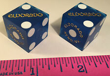 EL DORADO CASINO DICE 2 BLUE DICE USED AT CASINO TABLES RENO NEVADA FREE SHIP