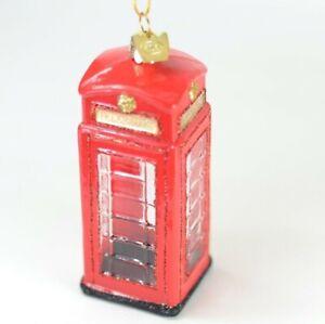 Telephone Booth London England Glass Christmas Ornament. NEW