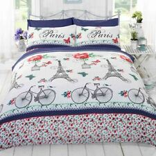 C'EST LA VIE PARIS RED KING SIZE DUVET COVER SET BEDDING BLUE FRANCE