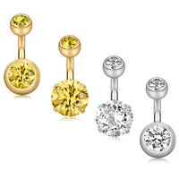 4PCS Stainless Steel CZ Ball Navel Belly Button Ring Belly Piercing Jewelry 14G