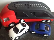 Little Tikes Car Transporter Complete Set with 2 Cars In Very Good Condition