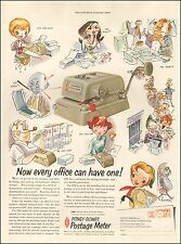 1954 office equipment AD POSTAGE METER Pitney Bowes Berman Cartoon  071316