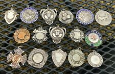 LARGE COLLECTION VINTAGE 1940 & 1950 IRISH SILVER WATCH FOB MEDALS AWARDS DUBLIN