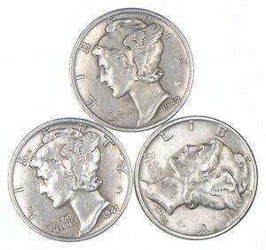 Lot of 3 AU/Unc 1942-D, 1941, 1945-D Mercury Dimes 90% Silver Collection *240