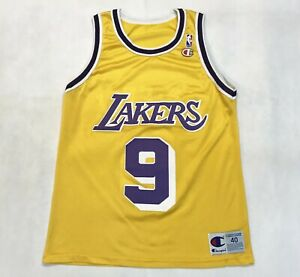 Vintage Champion NBA Los Angeles Lakers NICK VAN EXEL #9 Jersey Yellow Sz 40 USA