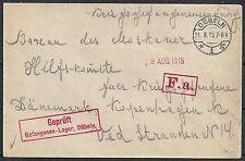 Reich 1915 cens PofWarcover Camp Döbeln to Kopenhagen